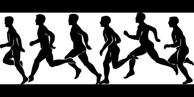 siluety lidského běhu