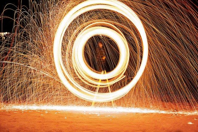 Ohňová show ve tvaru kruhu
